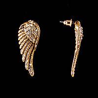Серьги-пусеты Крылья ангела,белые стразы, металл под золото, 38мм
