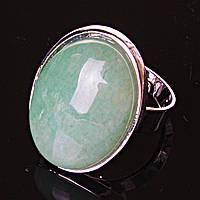 """Кольцо Нефрит гладкая оправа  """"С"""" овальный  камень 2,6*2,0см без р-р"""
