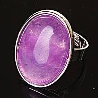 """Кольцо Аметист  гладкая оправа  """"С"""" овальный  камень 2,6*2,0см без р-р"""