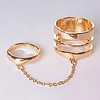 [15,16,17,18,19] Кольцо на два пальчика спираль кольцо голд