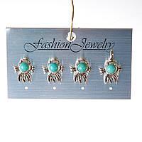 [20 мм] Серьги женские набор 4 шт с камнем из голубой бирюзы с прожилками золотая рыбка