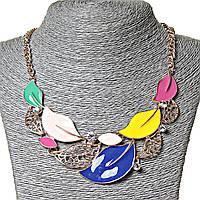 Ожерелье летнее Цветные Листья эмаль