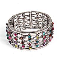 [5.5см] Браслет женский, металлический, инкрустирован множеством разноцветных камней