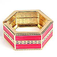 """[6см] Браслет """"Шестигранник"""", женский, розовый, украшен цирконами"""