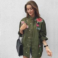 Женская хлопковая хаки куртка с цветами swag W38