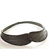 [ мм] Колье воротник на магните черный плетенка узор со стразами (ширина изделия от 7 до 30 мм)