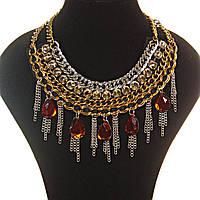 [10, 20 мм] Колье воротник цепи со стразами металлические золотистые крупные камни-капли янтарного цвета алмазная огранка
