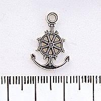 Фурнитура подвеска Якорь и штурвал,20мм, цвет металла серебро