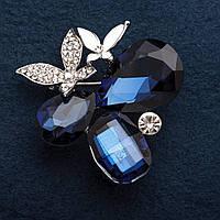 Брошь З синих кристалла с листиками цвет металла серебро 4,5*4,5см
