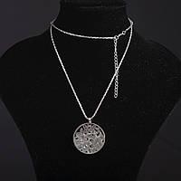 Колье на цепочке Ажурное с наполнителем стразы Круг цвет металла серебро