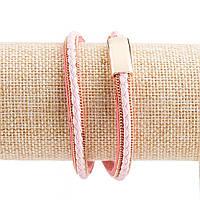 Браслет Эко-кожа на магните плетенка цепи под золото  розовый