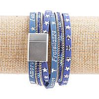 Браслет эко-кожа на магните Джинс Аморе синий со звездами