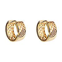Xuping. Серьги круглые золотого цвета с плетеным узором и листиком, украшенным стразами