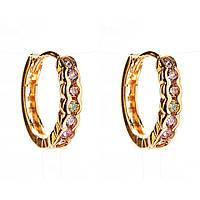 Xuping. Серьги круглые золотого цвета с разноцветными стразами