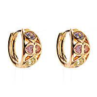 Xuping. Серьги круглые золотого цвета с вставками из разноцветных страз в виде маленьких сердечек