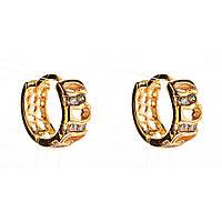 Xuping. Серьги круглые золотого цвета со вставками из страз