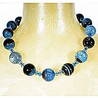 """Ожерелье """"чешское стекло"""" голубого цвета с крупными агатами 24мм,длина 62см"""