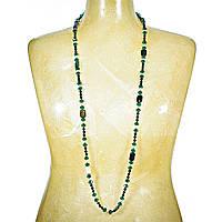 """Бусы """"чешское стекло"""" зелёные, чёрные бусины,белый жемчуг и прямоугольная яшма 15мм, длина 120см"""