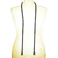 Бусы Лариат плетение жгутом из чёрного бисера и бусин, длина 145см