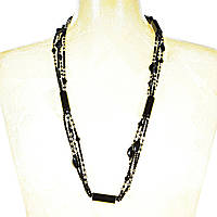 """Ожерелье """"чешское стекло"""" гранённые чёрные, прозрачные бусины и агат разной формы, длина 100см"""
