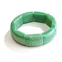 [10 см] Браслет на резинке Нефрит прямоугольные камни