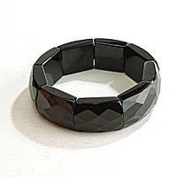 [10 см] Браслет на резинке черный Агат граненный прямоугольные камни