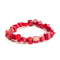 Браслет на резинке красный Коралл средние камни