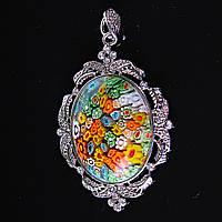 [50/35 мм.] Кулон подвеска Цветы литье муранское стекло Стразы Лепестки