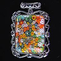 [55/40 мм.] Кулон подвеска Цветы литье муранское стекло Сердца