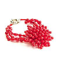 Браслет на резинке красный Коралл в виде цветка 3 нити