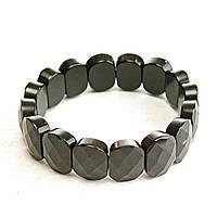 [10 см] Браслет на резинке черный Агат граненный  овальные камни