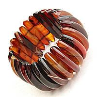 Браслет на резинке коричневый (дымчатый) Агат  широкий