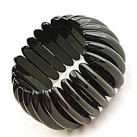 [10 см] Браслет на резинке черный Агат широкий