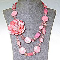 Бусы длинные Перламутр розовый монетка и прямоугольник, 47см