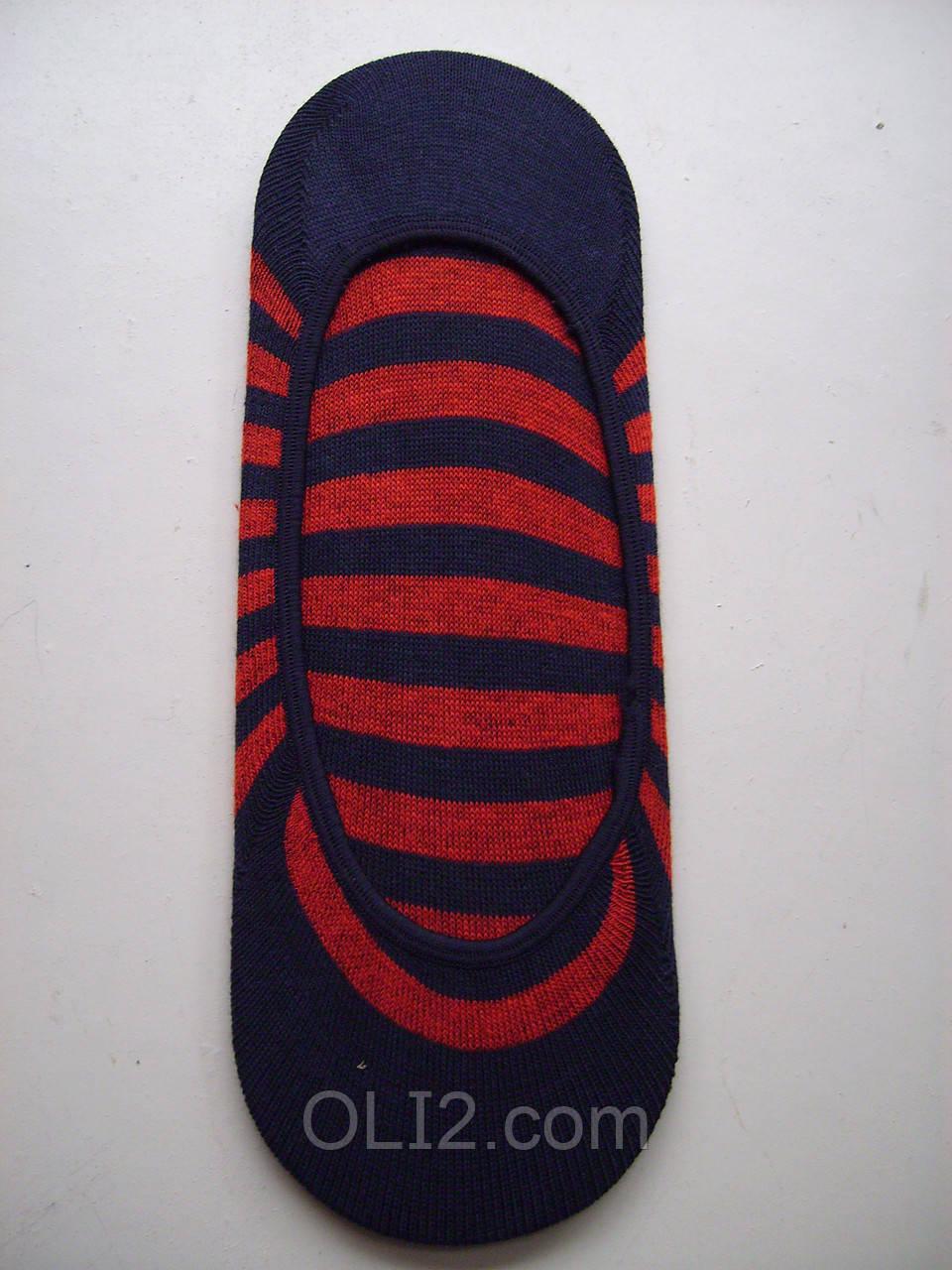 Следки женские в полоску, красно синего цвета