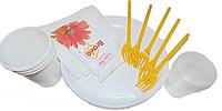 Набор посуды на 5 персон одноразовый пластмассовый 1 шт
