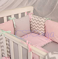 Комплект Baby Design зигзаг серо-розовый
