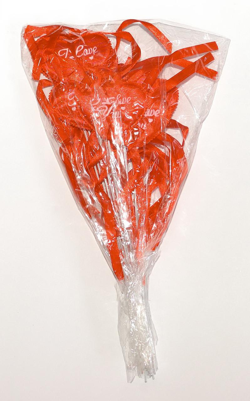 Серце на паличці з бантиком і написом   Червоне (В упаковці 12 шт.)