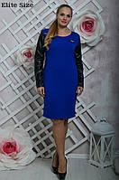 Женское красивое прямое платье с рукавами из эко-кожи (4 цвета), фото 1