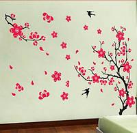 """Наклейка на стену, виниловые наклейки """"цветущее розовое дерево с ласточками"""" (лист60*90см)"""