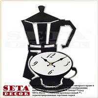 Часы Кофейник с чашкой настенные чёрного цвета