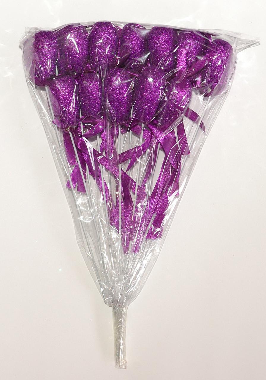 Сердце на палочке с блестками и бантиком   Cиреневый (В упаковке 12 шт.)