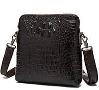 Оригинальная мужская кожаная сумка BEXHILL под кожу крокодила коричневая