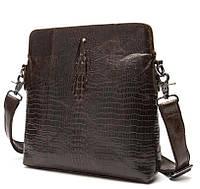 Стильная мужская кожаная сумка BEXHILL под кожу крокодила коричневая