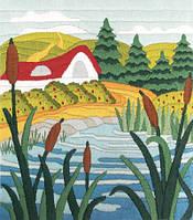 Набор для вышивания нитками Озеро в камышах НКЛ-4005
