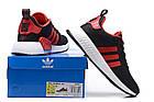Мужские кроссовки Adidas NMD R2 PK Black/Red (в стиле Адидас НМД) черные с красным, фото 3