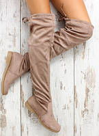 Бежевые   сапоги-чулки,ботфорты без каблука .Реплика Вайцман на низком ходу