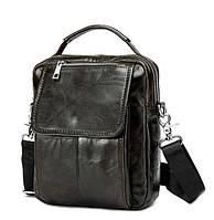 Практичная мужская кожаная сумка-барсетка BEXHILL шоколадного цвета