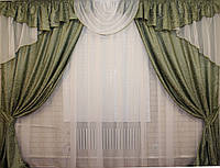 Комплект ламбрекен (№50) с шторами на карниз 2,5-3м. 050лш056