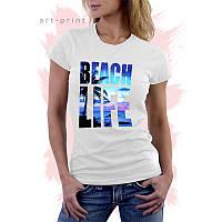 Женская белая футболка с рисунком ПЛЯЖ
